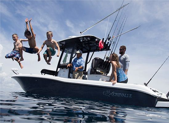 family time in a crevalle boat
