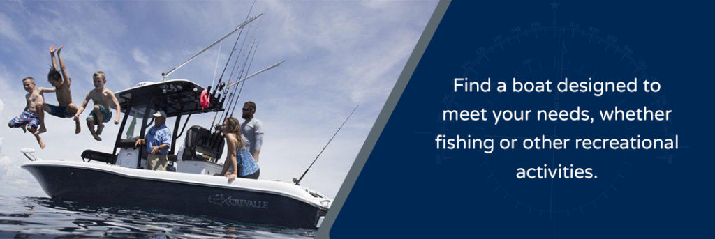 Find a boat designed to meet your needs, whether fishing or other recreational activities - family on a Crevalle boat