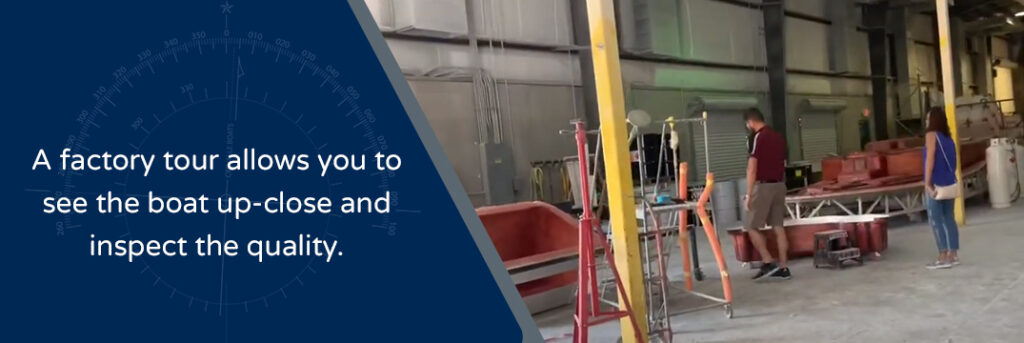 A factory tour allows you to see the boat up-close and inspect the quality - Crevalle factory worker and prospective customer looking at boat material