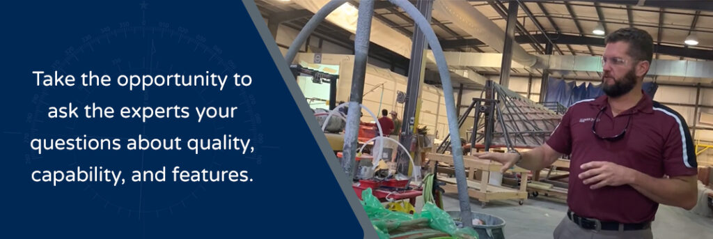 Take the opportunity to ask the experts your questions about quality, capability, and features. Crevalle Boats Facotry worker inside the factory