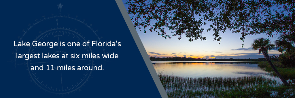 Lake George is one of Florida's largest lakes at 6 miles wide and 11 miles around - Image of Lake George