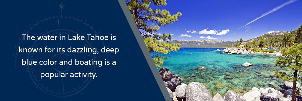 The water in Lake Tahoe is known for its dazzling, deep blue color and boating is a popular activity - Image of Lake Tahoe